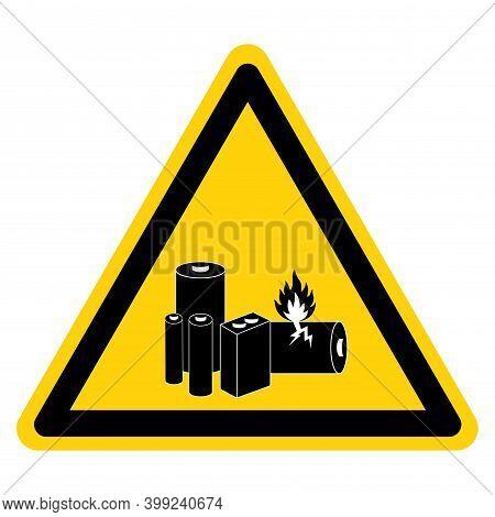 Warning Lithium Batteries Symbol Sign, Vector Illustration, Isolate On White Background Label. Eps10