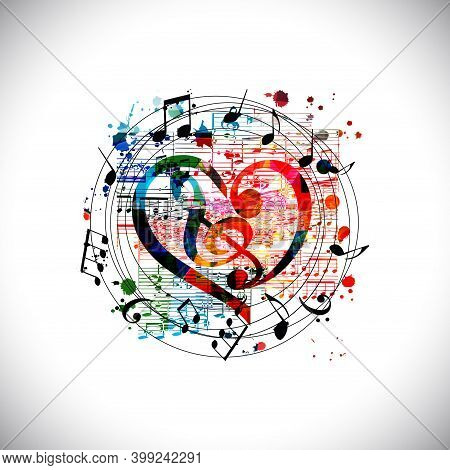 Colorful Musical Promotional Poster With G-clef And Musical Notes Isolated Vector Illustration. Arti