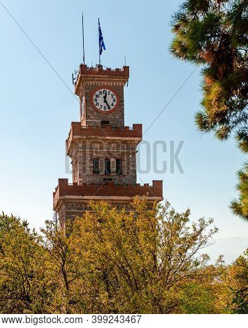 The Clock Tower Of Trikala, In Greece, On Top Of The Byzantine Castle. The Tower Was Built In The 17