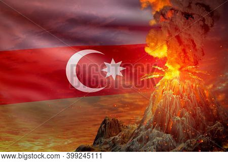 Volcano Blast Eruption At Night With Explosion On Azerbaijan Flag Background, Problems Of Eruption A