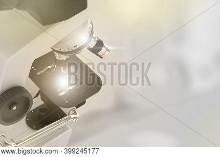 Biochemistry Research Concept, Laboratory Hi-tech Scientific Microscope With Flare On Selective Focu
