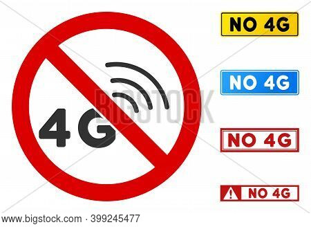 No 4g Signal Sign With Texts In Rectangular Frames. Illustration Style Is A Flat Iconic Symbol Insid