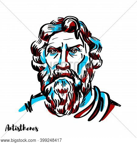 Antisthenes Engraved Vector Portrait With Ink Contours On White Background. Greek Philosopher And A