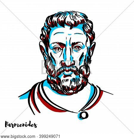 Parmenides Engraved Vector Portrait With Ink Contours On White Background. Pre-socratic Greek Philos