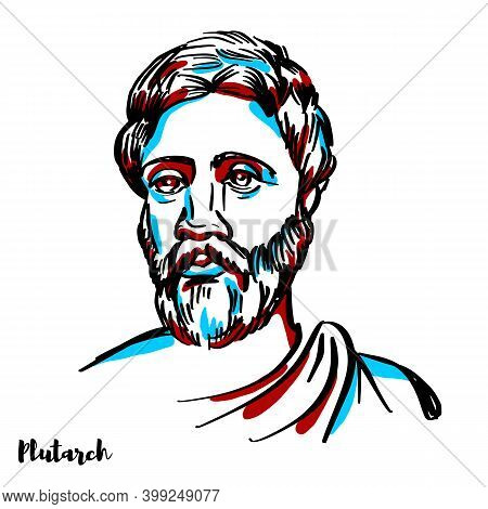 Plutarch Engraved Vector Portrait With Ink Contours On White Background. Greek Middle Platonist Phil