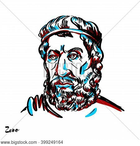 Zeno Engraved Vector Portrait With Ink Contours On White Background. Pre-socratic Greek Philosopher
