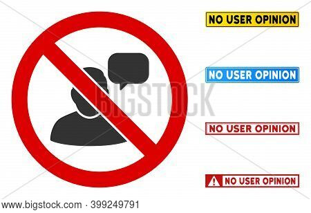 No User Opinion Sign With Titles In Rectangular Frames. Illustration Style Is A Flat Iconic Symbol I