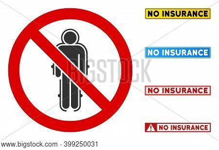 No Armour Suit Sign With Captions In Rectangular Frames. Illustration Style Is A Flat Iconic Symbol