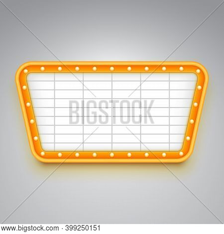 Bright Wall Signboard With Illumination. Retro Style Design. Frame With Light Bulbs.