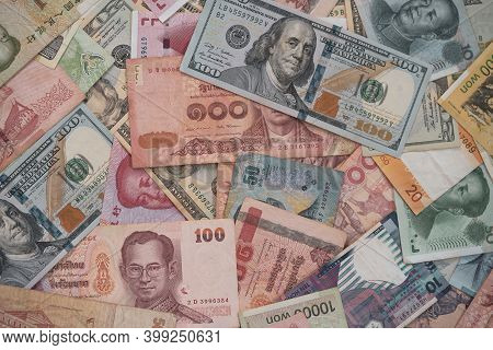 Currency Exchange And Forex Investment Concept, Closeup Variety Banknote Around The World Such As Do