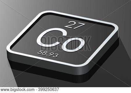 Cobalt Element From Periodic Table On Black Square Block, 3d Rendering