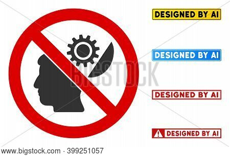 No Brain Configuration Sign With Badges In Rectangle Frames. Illustration Style Is A Flat Iconic Sym