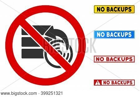 No Data Recovery Sign With Captions In Rectangle Frames. Illustration Style Is A Flat Iconic Symbol