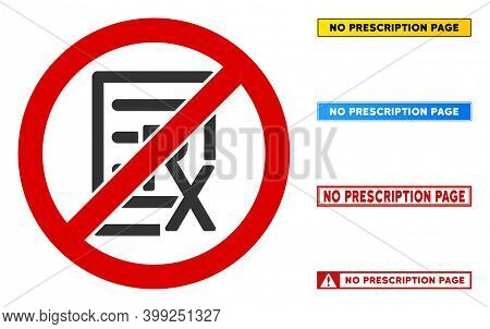 No Prescription Page Sign With Phrases In Rectangular Frames. Illustration Style Is A Flat Iconic Sy