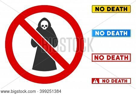 No Death Sign With Words In Rectangle Frames. Illustration Style Is A Flat Iconic Symbol Inside Red