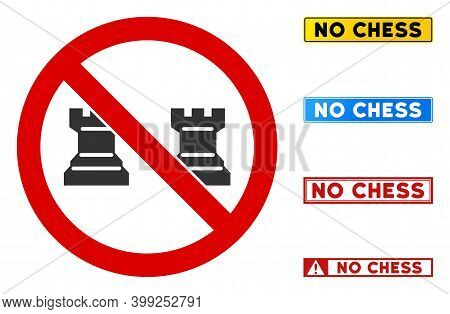 No Chess Rooks Sign With Captions In Rectangle Frames. Illustration Style Is A Flat Iconic Symbol In