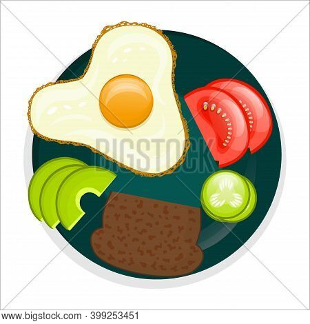 Vegan Breakfast Plate, Top View, Isolated On A White Background. Fried Eggs, Brown Bread, Sliced Veg