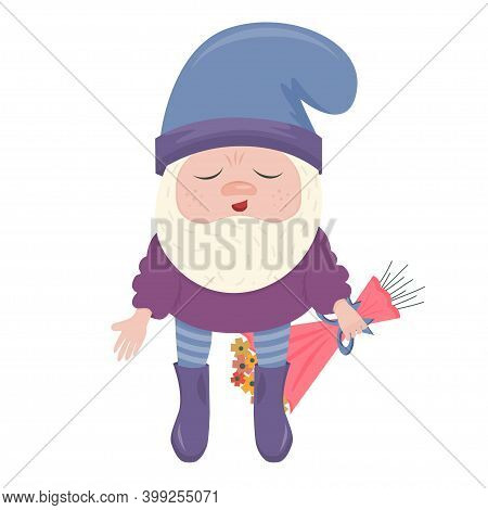 A Confused Dwarf With A Bouquet Of Flowers On His Back Is Isolated On A White Background. A Dwarf Gi