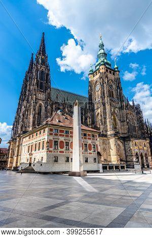 Prague Castle Obelisk, Or Mrakotin Monolith, At St Vitus Cathedral On Third Courtyard Of Prague Cast