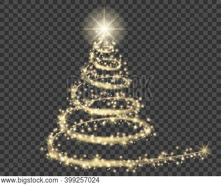 Christmas Tree, Golden Particle Wave In Form Of Christmas Tree With Bright Shining And Glowind Parti