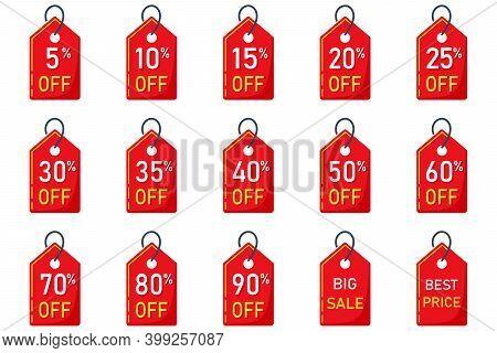 Sale Tags Set Vector Badges Template, 5, 10 Off, 15 , 20, 25, 30, 35, 40, 50, 60, 70 Percent Sale La