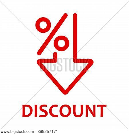 Percent Down Line Icon. Discount. Isolated On White Background. Vector Illustration.