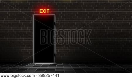 Brick Wall And Door With Neon Exit Lamp, Dark Background. Realistic Light Silhouette Slit Doorway. A