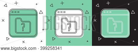 Set File Missing Icon Isolated On White And Green, Black Background. Vector