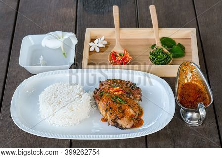 Panang With Grilled Chicken Is A Spicy Dish In The Central Part Of Thailand.