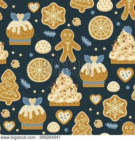 Christmas Sweets Bakery Seamless Pattern With Gingerbread Cookies. Autumn And Winter Holidays. Wallp