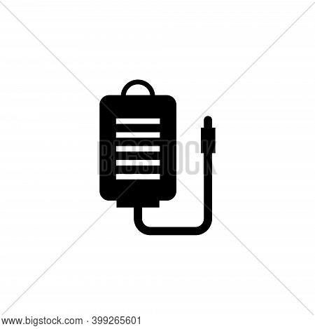 Transfusion Blood Bag, Infusion Drip. Flat Vector Icon Illustration. Simple Black Symbol On White Ba