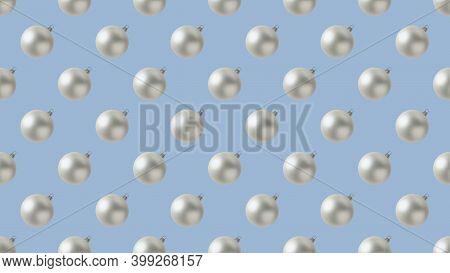 Background Of Many White Christmas Balls On Blue