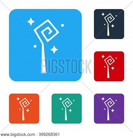 White Magic Staff Icon Isolated On White Background. Magic Wand, Scepter, Stick, Rod. Set Icons In C