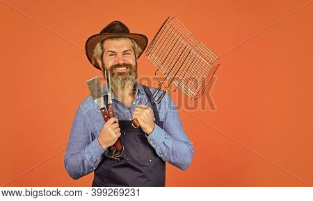 Steak And Barbecue. Barbecue Menu. Bearded Hipster Wear Hat And Apron For Barbecue. Grilling Food. A