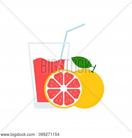 Grapefruit Juice In Glass. Healthy Fresh Drink. Vector Organic Illustration Isolated On White.