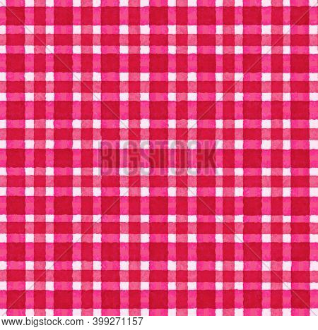 Pink Magenta White Red Vintage Checkered Background With Blur, Gradient And Grunge Texture. Classic