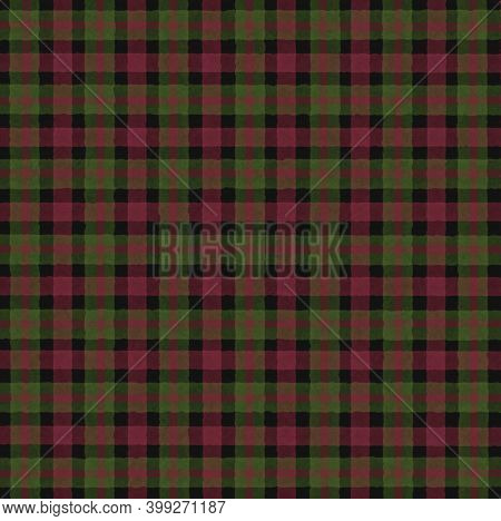 Red Crimson Black Green Vintage Checkered Background With Blur, Gradient And Grunge Texture. Classic