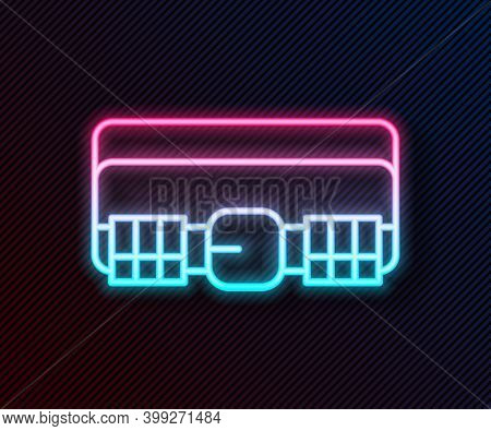 Glowing Neon Line Hunting Cartridge Belt With Cartridges Icon Isolated On Black Background. Bandolie