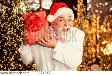 Little Secret. Bearded Businessman Get Present. Holiday Decor And Illumination. Stay Happy This Chri