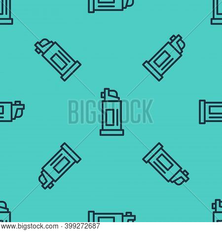 Black Line Pepper Spray Icon Isolated Seamless Pattern On Green Background. Oc Gas. Capsicum Self De