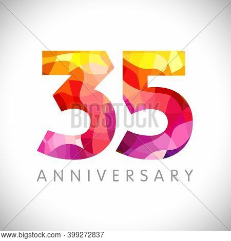 35 Th Anniversary Numbers. 35 Years Old Logotype. Bright Congrats. Isolated Abstract Graphic Web Des