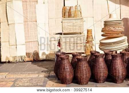 Natural Twigs Made Products At Market In Brazil