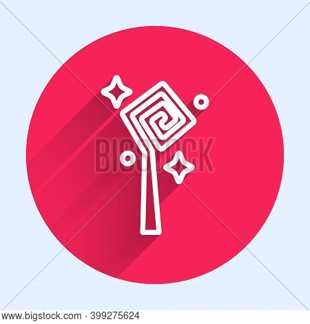 White Line Magic Staff Icon Isolated With Long Shadow. Magic Wand, Scepter, Stick, Rod. Red Circle B