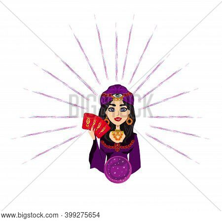 Fortune Teller Woman Reads The Future From The Crystal Ball And Cards , Vector Illustration