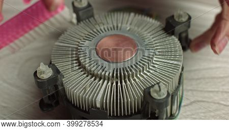 Close-up Of Thermal Paste On The Cpu Cooling System. Cpu Cooling System Thermal Grease Close-up Macr