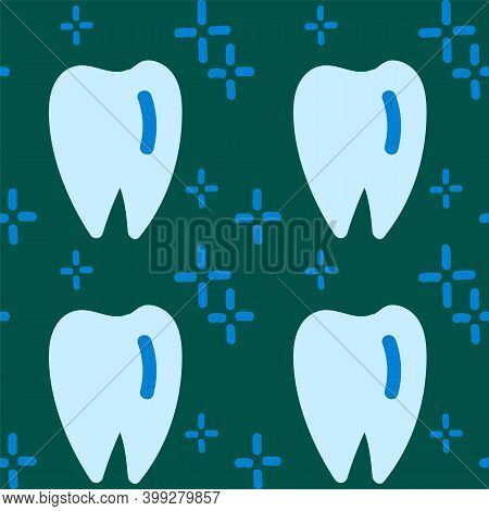 Pattern For Cleaning Teeth And Oral Cavity. Cartoon Background Of Brushing Teeth And Mouth In Linear