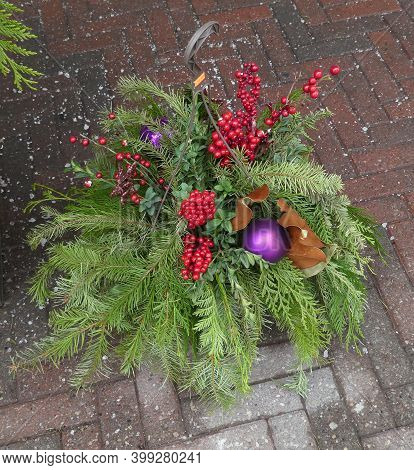 Winter Bouquet On The Floor As Christmas Decoration