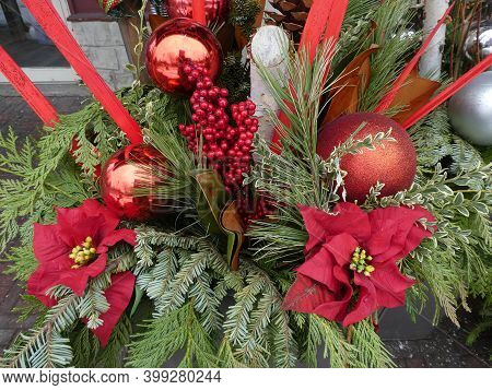 Colorful Winter Bouquet As The Christmas Decoration