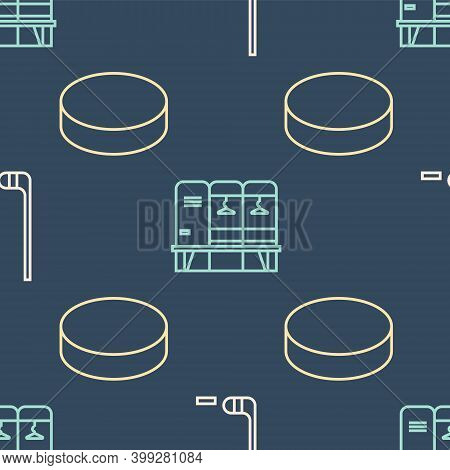 Set Line Ice Hockey Stick And Puck, Hockey Puck And Locker Or Changing Room On Seamless Pattern. Vec