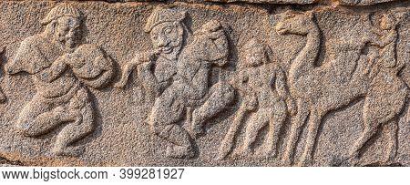 Hampi, Karnataka, India - November 4, 2013: Mural Sculpture On Stone At Royal Enclosure. Mural Sculp